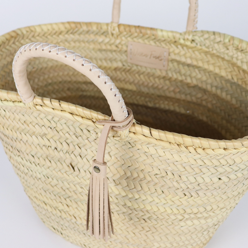 Honolulu Straw French Basket with Leather Tassel