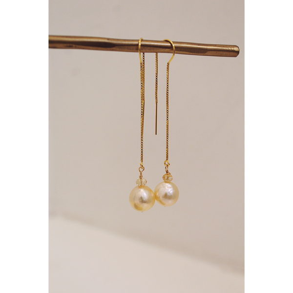 Gold Baroque Pearl + Citrine Earrings