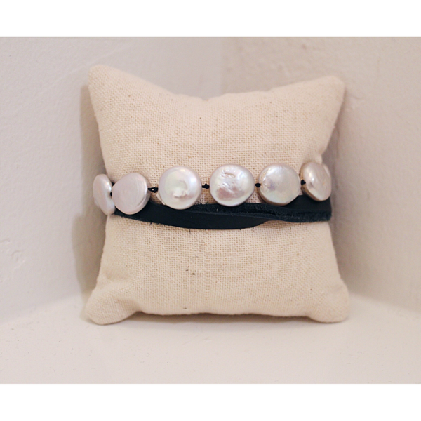 Coin Pearl + Leather Bracelet