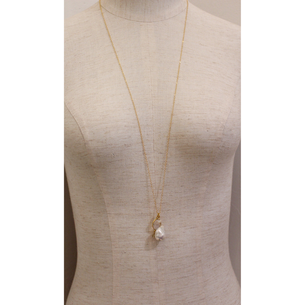 Moonstone Pendant + Baroque Pearl Drop Necklace