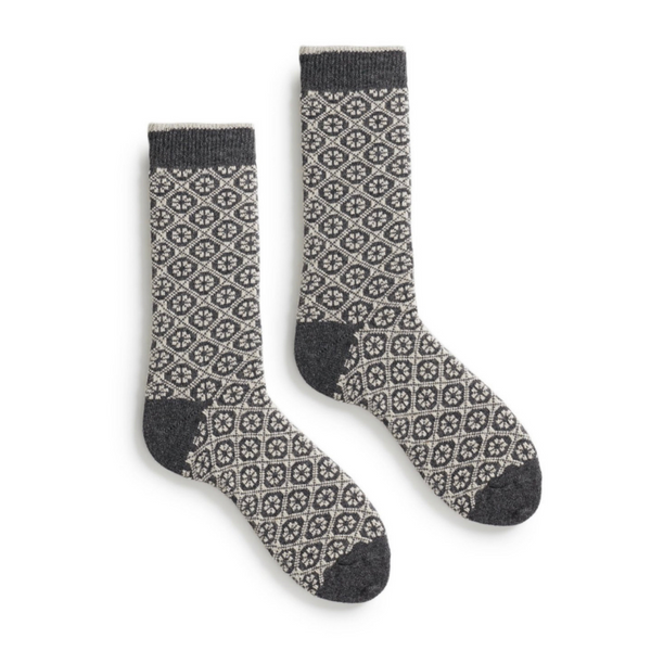Medallion Wool + Cashmere Socks
