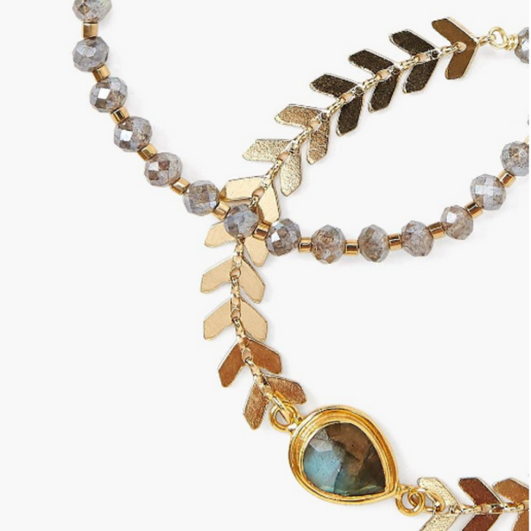 Mystic Labradorite and Gold Chevron Bracelet Set