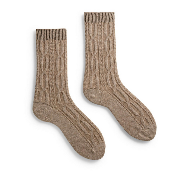 Chunky Cable Wool + Cashmere Socks