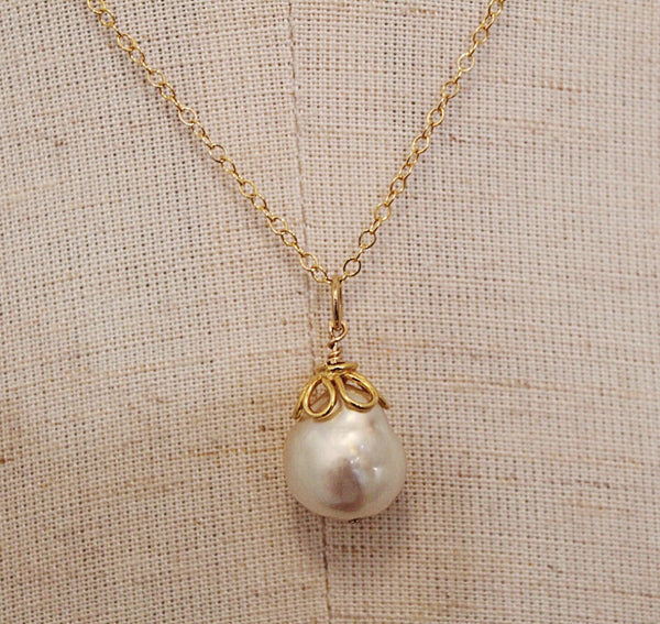 Creamy Baroque Pearl + Gold Necklace