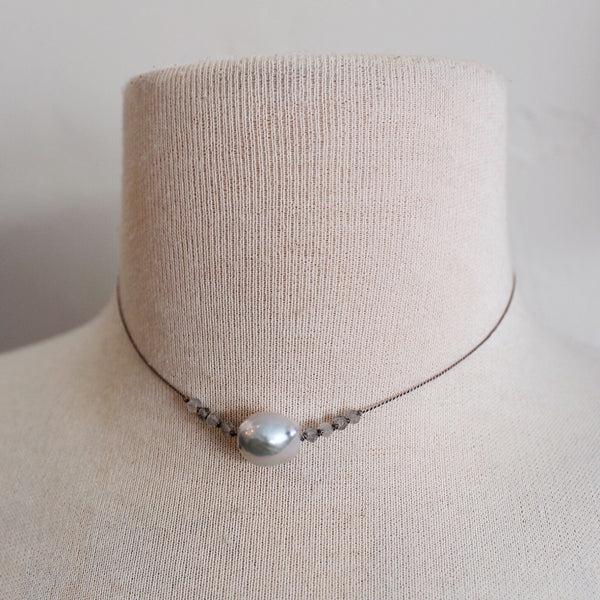 Grey Tahitian Pearl + Labradorite Necklace