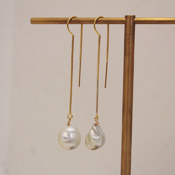 Baroque Pearl Drop + Chain Earring