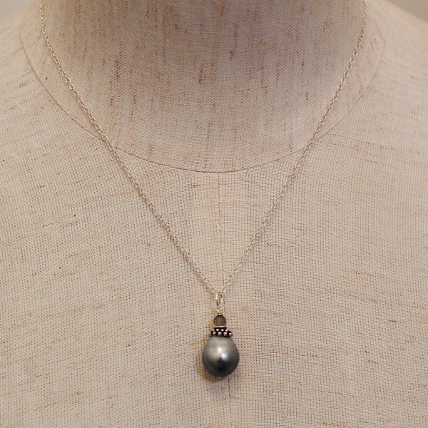 Grey Tahitian Drop + Labradorite Necklace