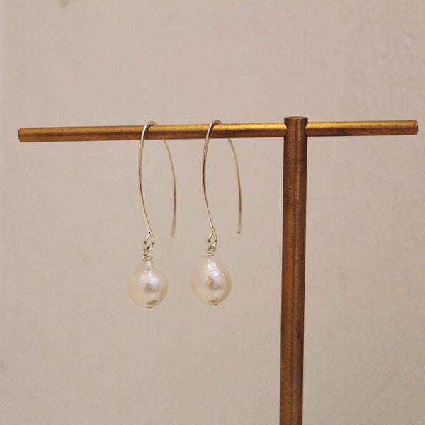 Sterling Loop Wire + White Pearl Earrings