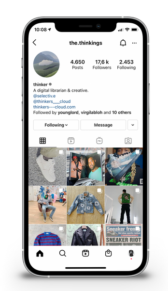 iPhone 12 Pro Mock-up with Instagram opened on The.Thinkings page