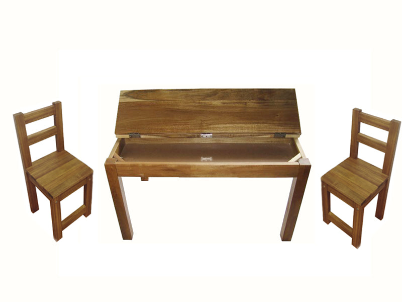 Hardwood study desk and 2 standard chairs
