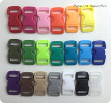 Load image into Gallery viewer, 20 COLORS 100pcs/lot 10mm Webbing Bag Buckles colorful Plastic Buckles Curved Side Release Buckles Paracord Buckles,29*15mm/pcs