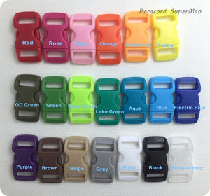 20 COLORS 100pcs/lot 10mm Webbing Bag Buckles colorful Plastic Buckles Curved Side Release Buckles Paracord Buckles,29*15mm/pcs
