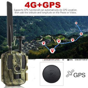 4G Hunting Camera GPS MMS with 3000mah Solar Panel Night Vision Trail Camera GSM GPRS Photo-traps  IOS Android APP