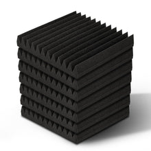 Load image into Gallery viewer, 40pcs Studio Acoustic Foam Sound Absorption Proofing Panels 30x30cm Black Wedge