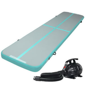 Everfit 3m x 1m Air Track Mat Gymnastic Tumbling Blue and Grey