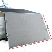 Load image into Gallery viewer, 3.4M Caravan Privacy Screens 1.95m Roll Out Awning End Wall Side Sun Shade