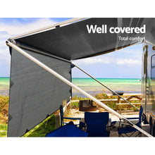 Load image into Gallery viewer, 3.7M Caravan Privacy Screens 1.95m Roll Out Awning End Wall Side Sun Shade