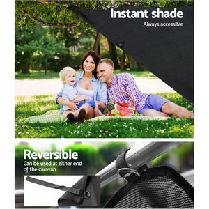 Black Caravan Privacy Screen 1.95 x 2.2M End Wall or Side Sun Shade Roll Out