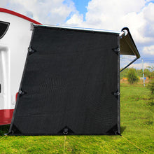 Load image into Gallery viewer, Black Caravan Privacy Screen 1.95 x 2.2M End Wall or Side Sun Shade Roll Out
