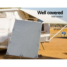 Load image into Gallery viewer, Pop Top Caravan Privacy Screen 2.1 x 1.8M Sun Shade End Wall Roll Out Awning