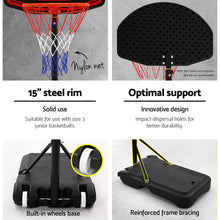 Load image into Gallery viewer, Everfit 2.1M Adjustable Portable Basketball Stand Hoop System Rim Black