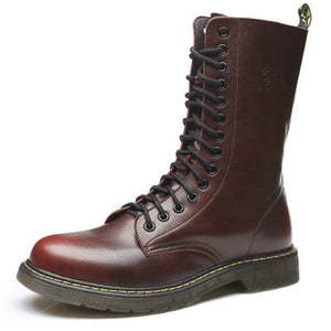 Big size Vintage Men Mid-Calf Army boots Lace-Up Genuine leather Motorcycle boots Non-slip Wear-resistant Outdoor work boots 3A