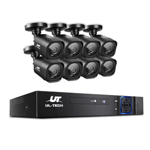 UL-TECH 8CH 5 IN 1 DVR CCTV Security System Video Recorder /w 8 Cameras 1080P HDMI Black