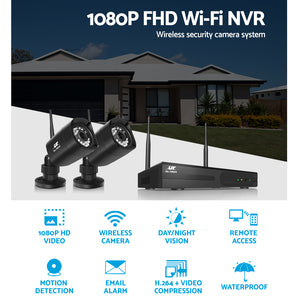 UL-TECH 1080P 4CH NVR Wireless 4 Security Cameras Set