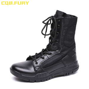 CQB.FURY Summer super light lace up military Boot Tactical Breathable ankle strap Army Boots Mens Black Combat Boots size38-46