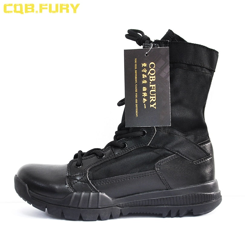 c0467fe56ab CQB.FURY Summer super light lace up military Boot Tactical Breathable ankle  strap Army Boots Mens Black Combat Boots size38-46