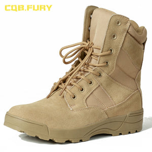 CQB.FURY leather mens military desert boots cow suede autumn sand combat army boots with zipper ankle strap solid tactical boot