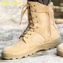 Load image into Gallery viewer, CQB.FURY leather mens military desert boots cow suede autumn sand combat army boots with zipper ankle strap solid tactical boot