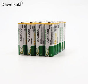 Daweikala New AA battery 3000 mAh Rechargeable battery NI-MH 1.2 V AA battery 3000mah for Clocks, mice, computers, toys so on