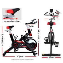 Load image into Gallery viewer, Everfit Spin Exercise Bike Fitness Commercial Home Workout Gym Equipment Black
