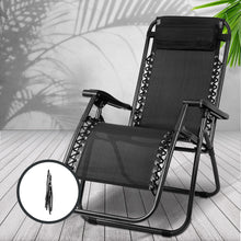 Load image into Gallery viewer, Gardeon Zero Gravity Chairs 2PC Reclining Outdoor Furniture Sun Lounge Folding Camping Lounger Black
