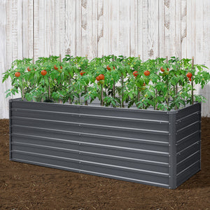 Greenfingers Garden Bed 240X80X77CM Galvanised Raised Steel Instant Planter 2N1