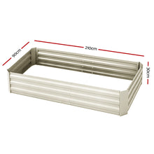 Load image into Gallery viewer, Greenfingers Garden Bed 2PCS 210X90X30cm  Galvanised Steel Raised Planter Cream