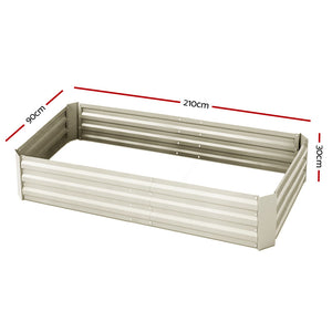 Greenfingers Garden Bed 2PCS 210X90X30cm  Galvanised Steel Raised Planter Cream