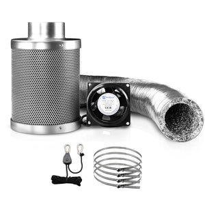Greenfingers Hydroponics Grow Tent Ventilation Kit Vent Fan Carbon Filter Duct Ducting 4 inch