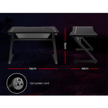 Load image into Gallery viewer, Artiss Gaming Desk Home Office Computer Carbon Fiber Style LED Racer Table