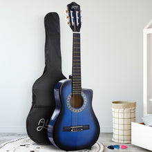 "Load image into Gallery viewer, Alpha 34"" Inch Guitar Classical Acoustic Cutaway Wooden Ideal Kids Gift Children 1/2 Size Blue"