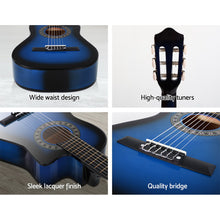 "Load image into Gallery viewer, Alpha 34"" Inch Guitar Classical Acoustic Cutaway Wooden Ideal Kids Gift Children 1/2 Size Blue with Capo Tuner"