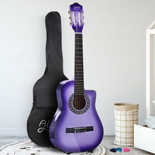 "Load image into Gallery viewer, Alpha 34"" Inch Guitar Classical Acoustic Cutaway Wooden Ideal Kids Gift Children 1/2 Size Purple"