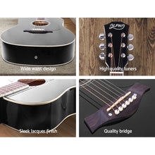 Load image into Gallery viewer, ALPHA 41 Inch Wooden Acoustic Guitar with Accessories set Black