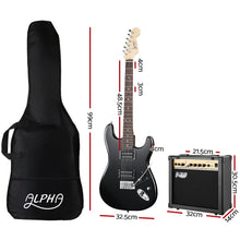 Load image into Gallery viewer, Alpha Electric Guitar And AMP Music String Instrument Rock Black Carry Bag Steel String
