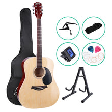 Load image into Gallery viewer, ALPHA 41 Inch Wooden Acoustic Guitar with Accessories set Natural Wood