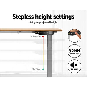 Artiss Standing Desk Motorised Electric Height Adjustable Laptop Computer Table 120cm Dual Motor