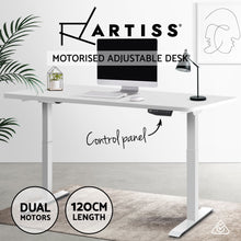 Load image into Gallery viewer, Artiss Sit Stand Desk Motorised Electric Computer Laptop Table Riser Office Dual Motor 120cm White