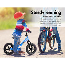"Load image into Gallery viewer, Kids Balance Bike Ride On Toys Puch Bicycle Wheels Toddler Baby 12"" Bikes Blue"
