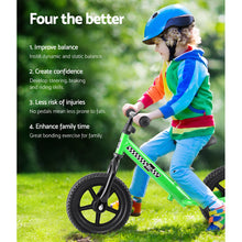 "Load image into Gallery viewer, Kids Balance Bike Ride On Toys Puch Bicycle Wheels Toddler Baby 12"" Bikes Green"